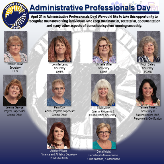 photographs of our secretaries, administrative assistants, and finance supervisors.